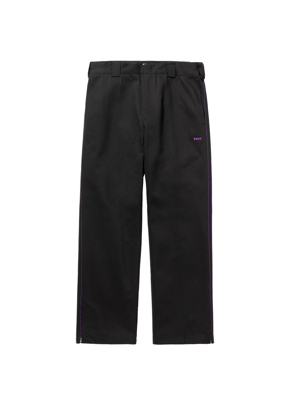 FUZZ SIDE ZIP PANTS black
