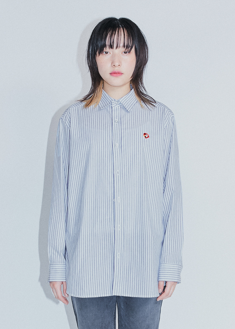KANCO GATHERS SHIRT blue stripe