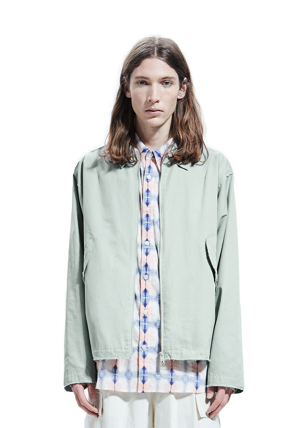 CUT-OFF COLLAR BLOUSON mint gray