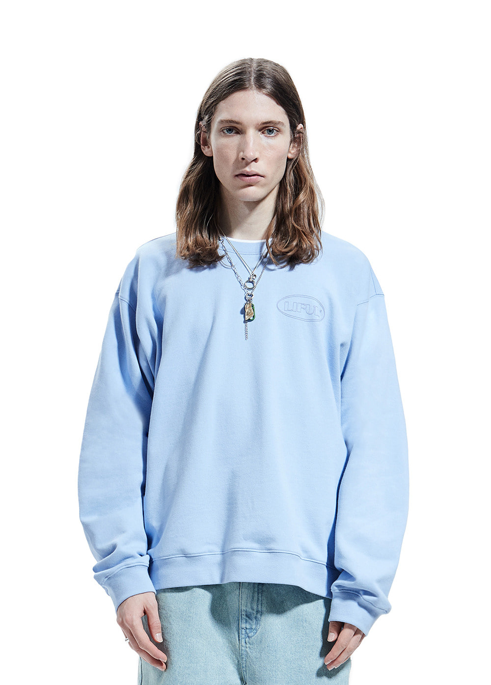 LINE OVAL LOGO SWEATSHIRT powder blue