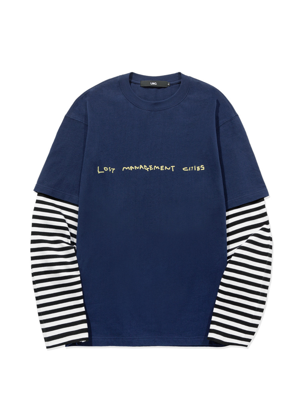 LMC STRIPE LAYERED LONG SLV TEE navy