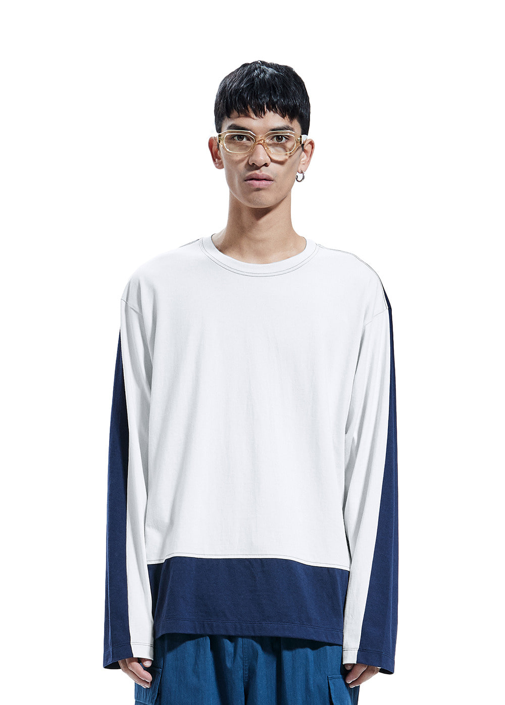 COLOR BLOCK LONG SLEEVE TEE off white/navy
