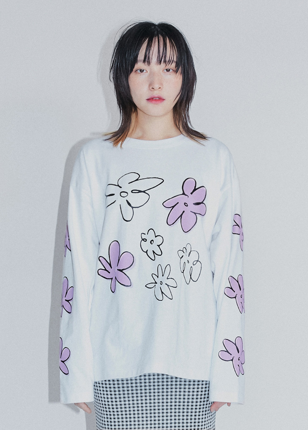 KANCO FLOWER LONG SLEEVE TEE white