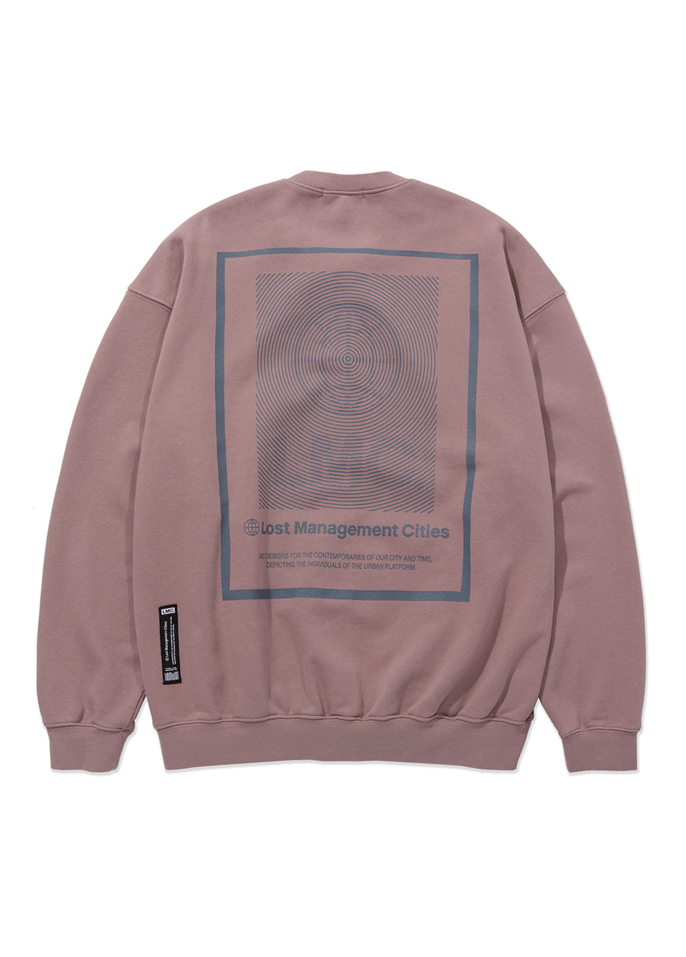 LMC BORDER OVERSIZED ZIP-UP SWEATSHIRT ash pink