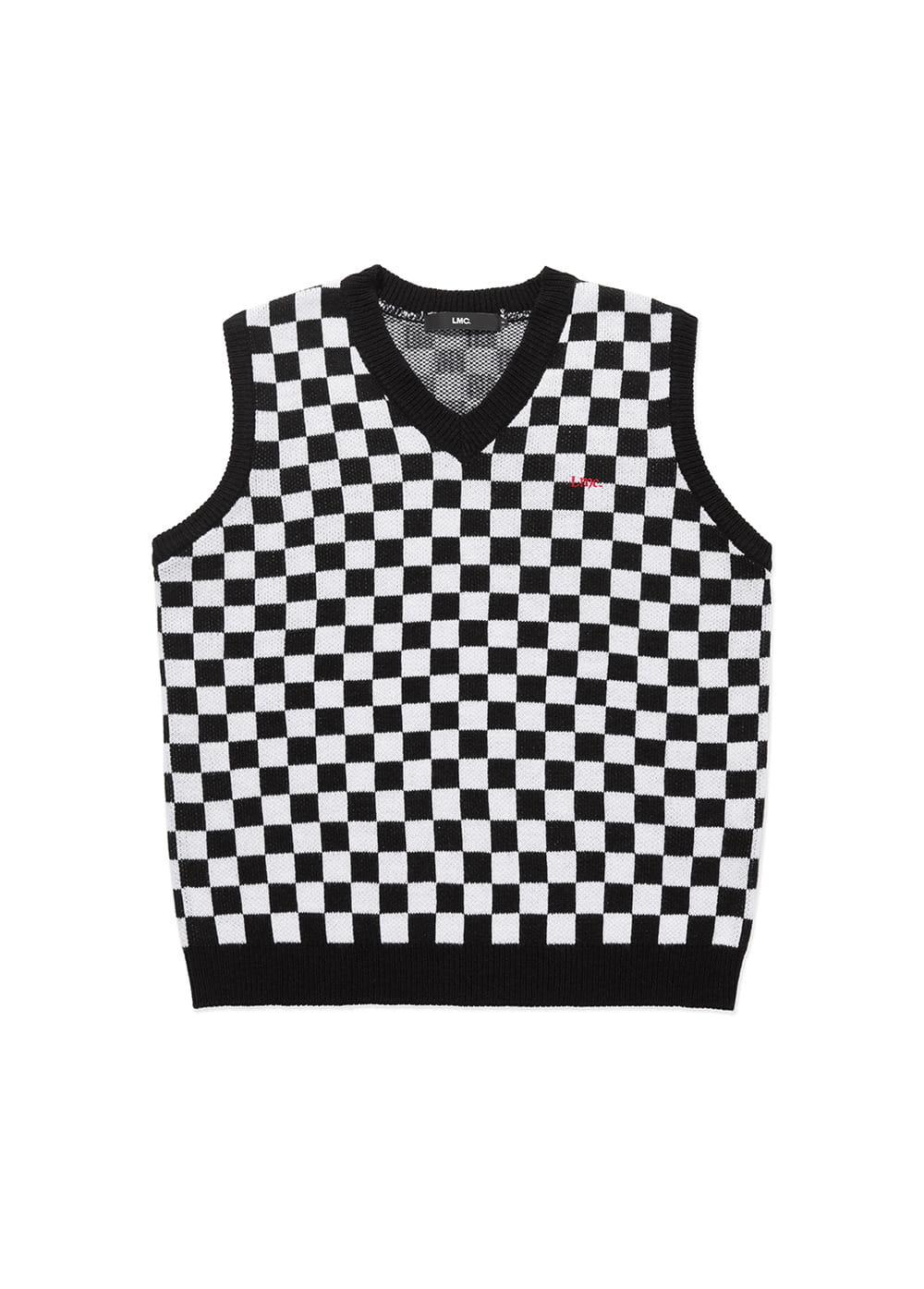LMC CHECKERBOARD KNIT VEST white/black