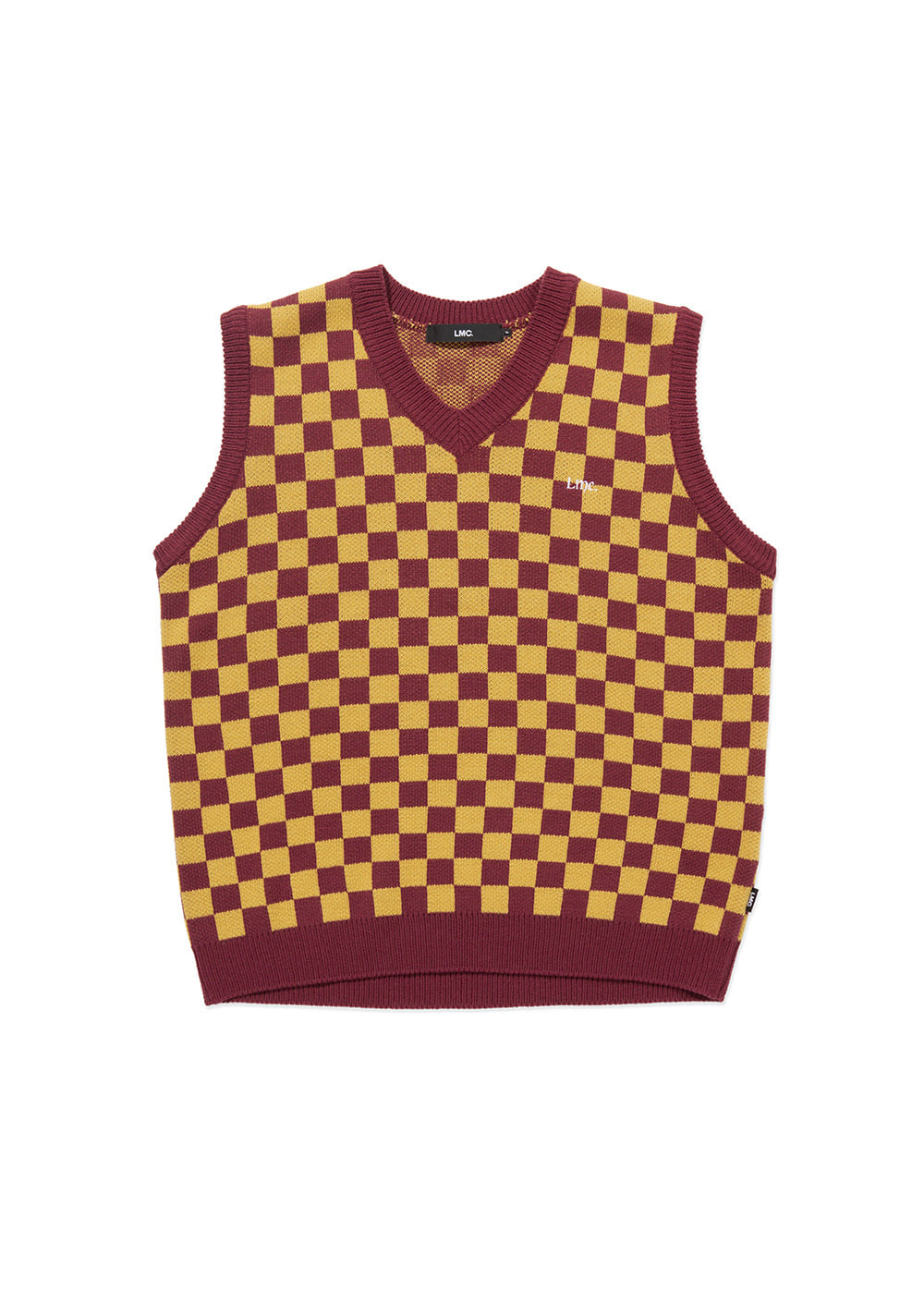 LMC CHECKERBOARD KNIT VEST brown/burgundy