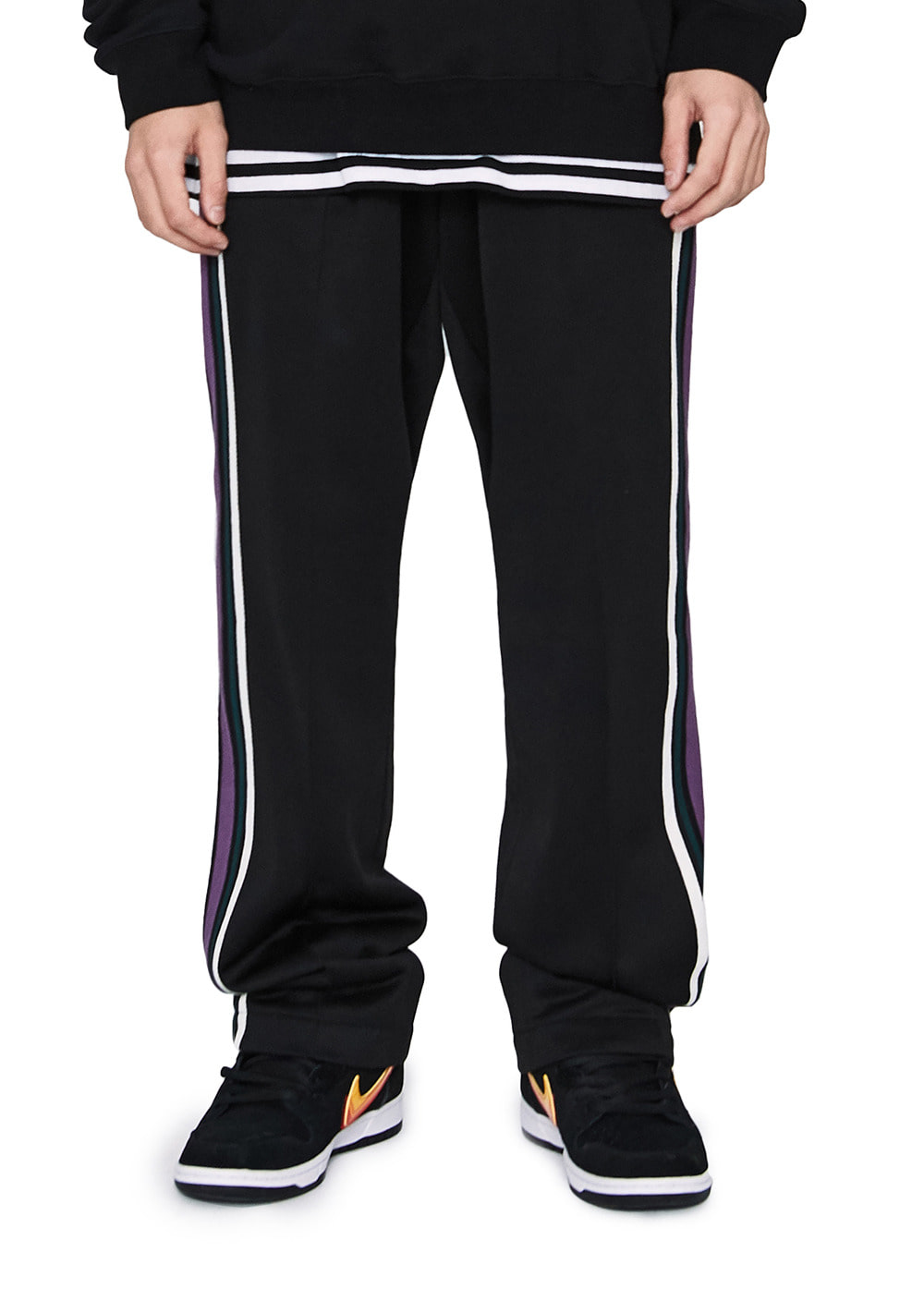 LMC SIDE STRIPED JERSEY PANTS black
