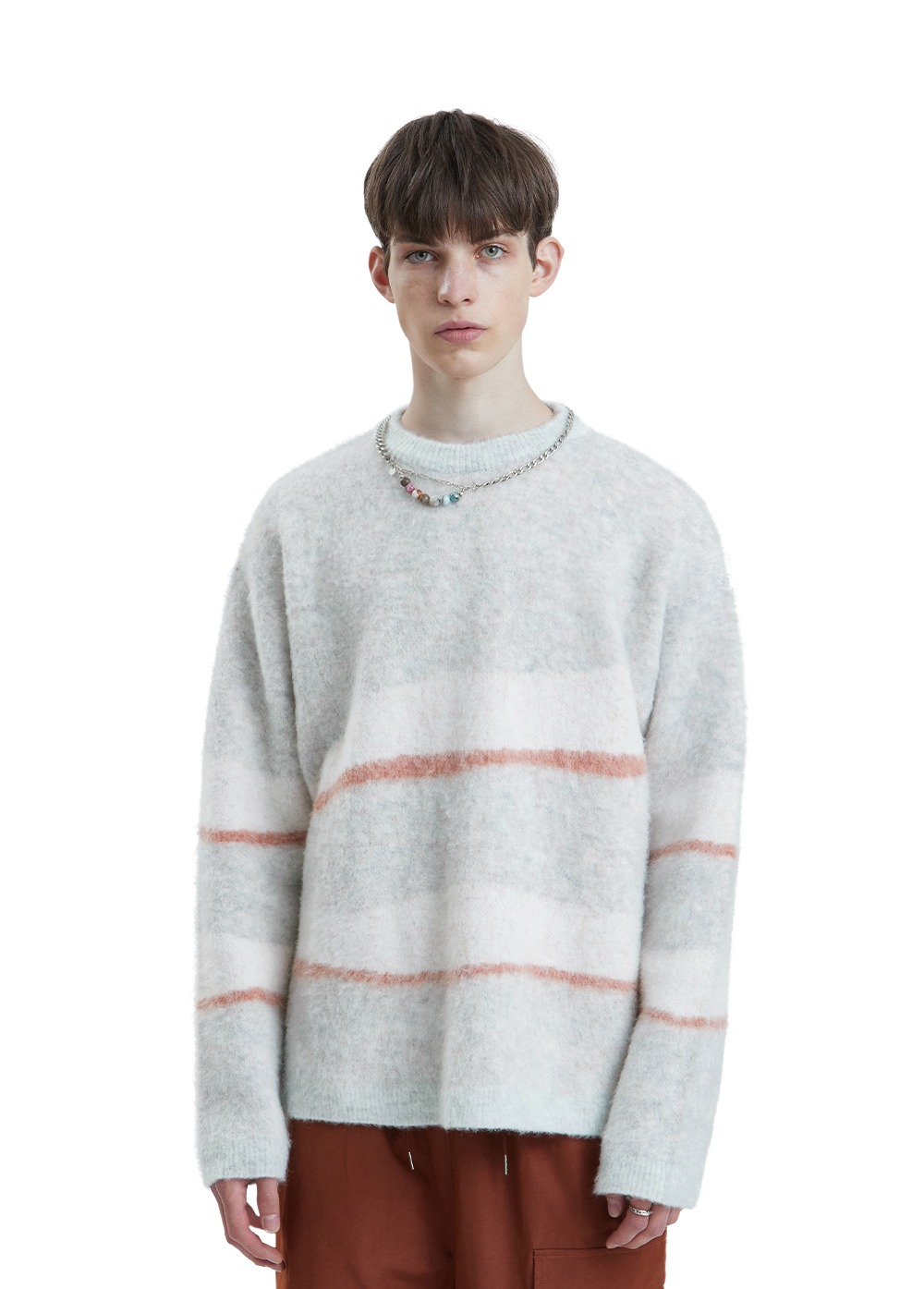 LIFUL MOHAIR WAVY STRIPED KNIT melange gray