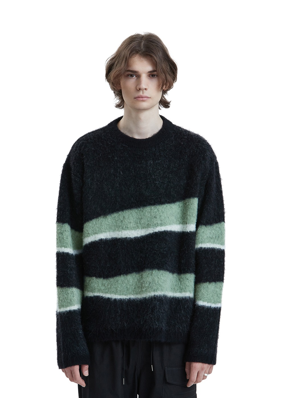 LIFUL MOHAIR WAVY STRIPED KNIT black