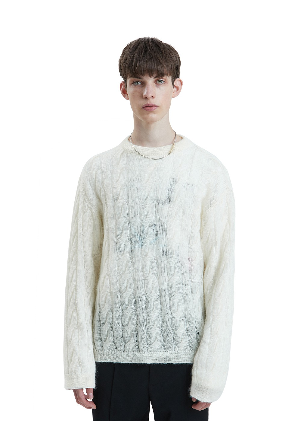 LIFUL KID MOHAIR CABLE KNIT SWEATER ivory