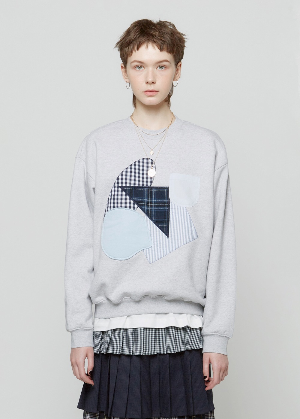 KANCO FABRIC APPLIQUE SWEATSHIRT melange gray