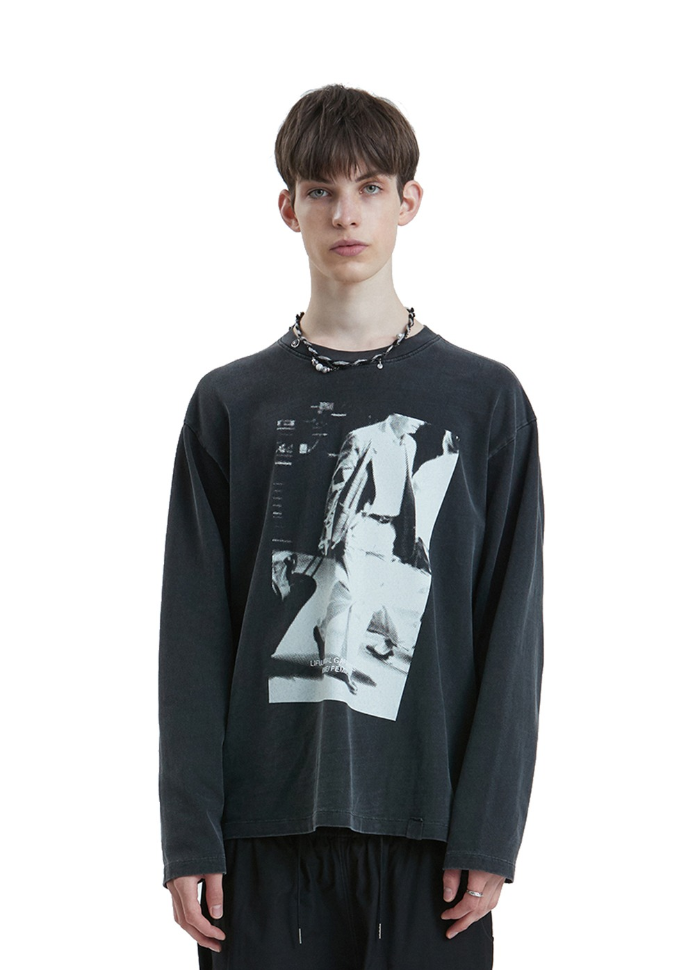 LIFUL P-DYED MOMENT LONG SLEEVE TEE black